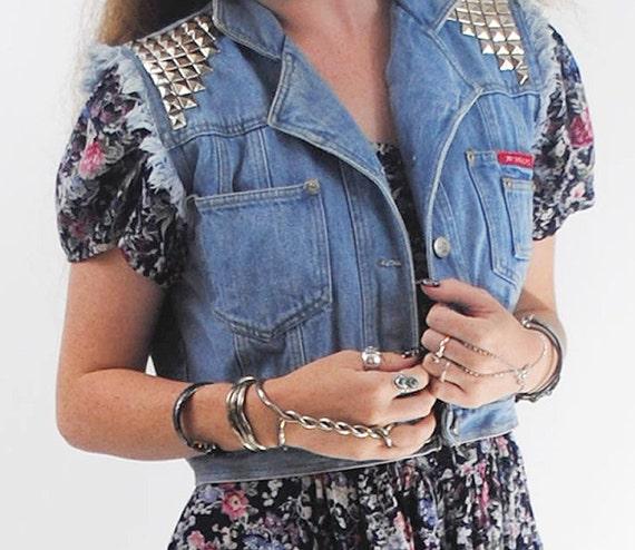 No Excuses- Vintage 1980s Recycled Studded Denim Blue Jean Vest- Large