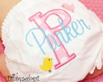Personalized Diaper Cover Initial and Name with Birds