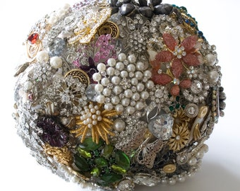 Bridal All Brooch Wedding Bouquet  Deposit - DEPOSIT Vintage, heirloom, artificial bouquet jewel bouquet Medium