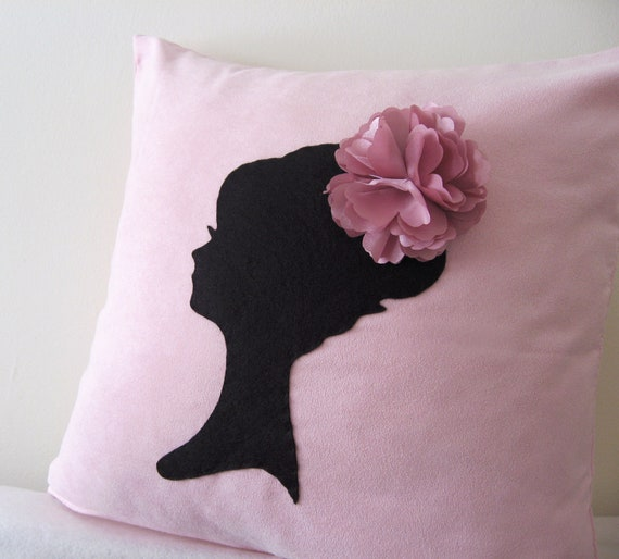 Girls Room Cushion Cover. Elegant Cameo Soft Pink And Black Pillow Cover. Lady With Pretty Rosette Headpiece