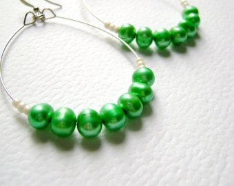 Emerald Green - river fresh water pearls earrings