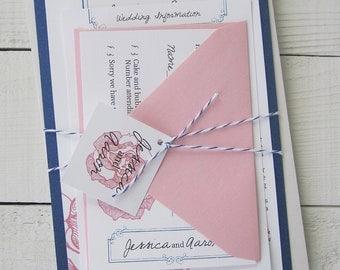 Vintage Rose Wedding Invitation - Pink Flower Floral Blue Antique Ribbon Elegant. Purchase this Deposit to get started.