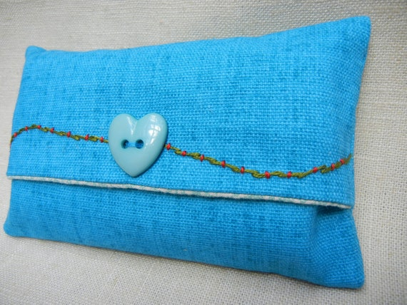 Tissue Pack Cover - Turquoise Button Heart Tissue Case - Tissues Included