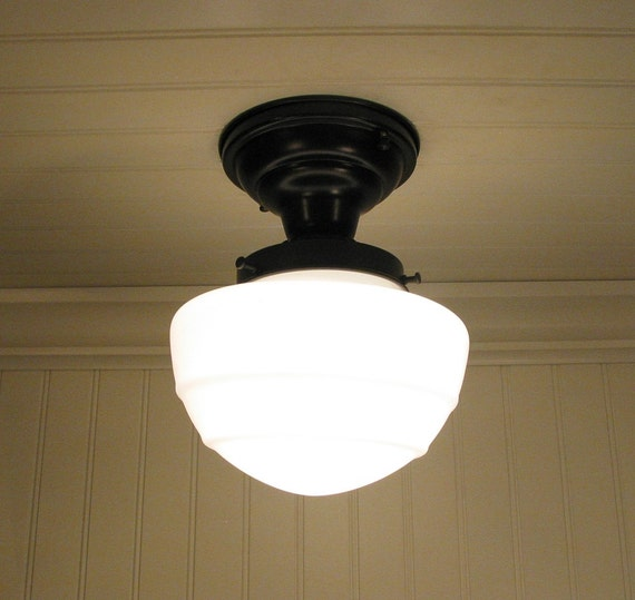 Glass CEILING LIGHT Fixture Mushroom Style Flush Mount