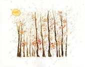 Autumn Forest -Landscape painting-Watercolor-Orange autumnal forest-Archival Large Print from my original watercolor painting 14x11 inch