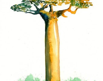 Bottle Baobab Print from my original watercolor painting 8x10 inch