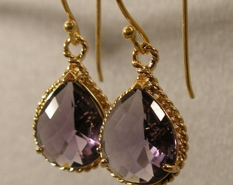 Amethyst Glass Braid Gold Bridesmaid Earrings, Wedding Earrings, Bridesmaid Jewelry, Gold Earrings, Bridal Earrings (4132wn)