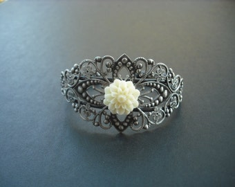 Antique Silver Bracelet, antique silver brass diamond filigree cuff bracelet