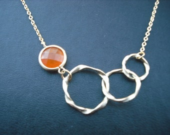 Bridesmaids gift, Wedding Gift, tirple twisted circle with red aventurine bezel necklace - 16K gold plated