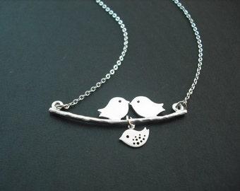 Silver Lovely Mod Birds Family Necklace