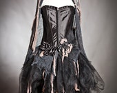 Size large black and tan Burlesque zombie corset dress with cape Ready to Ship