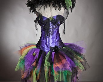 Custom Size Light up Purple Orange Green and Black Feather Burlesque Corset Witch Spider costume with Hat Ready to Ship