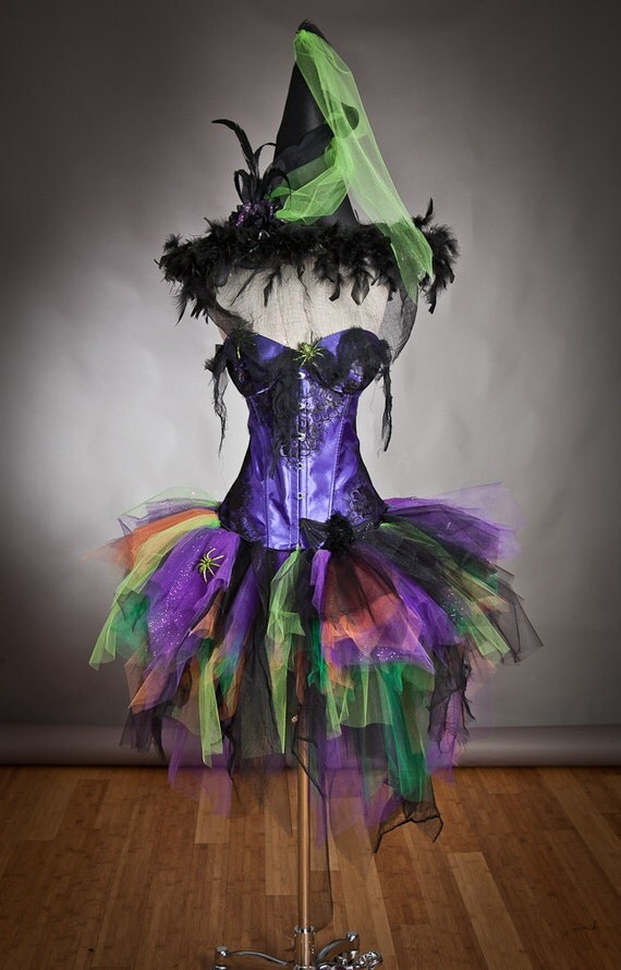 Size Large Light up Purple Orange Green and Black Feather Burlesque Corset Witch Spider costume with Hat Ready to Ship