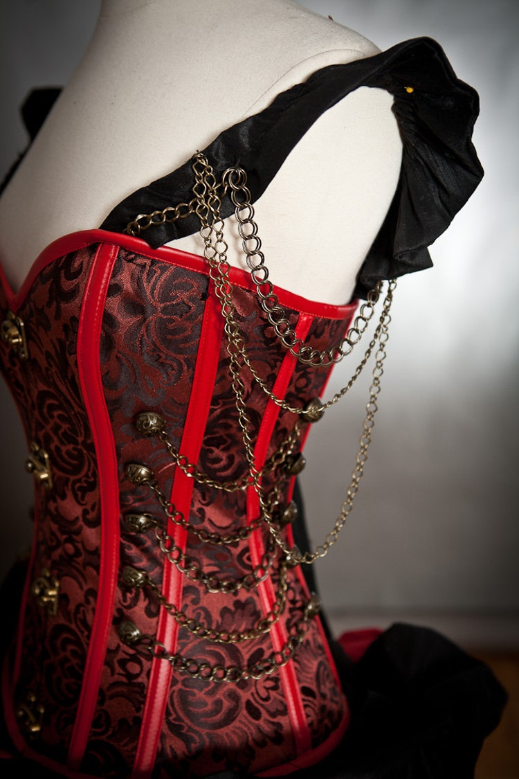 Custom Size Black And Red Steampunk Burlesque Corset By