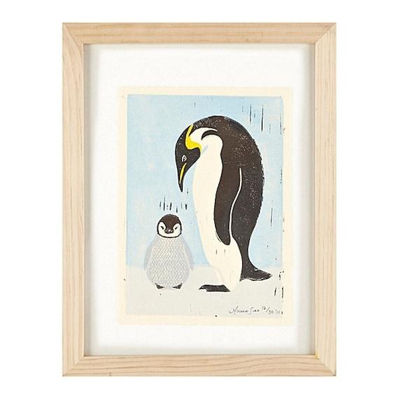 PENGUINS - Original Hand-Pulled Linocut Block Art Print, 5 x 7, Mother And Child, Arctic, Blue, Black, Wall Decor