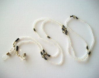 Crystal Eyeglass Holder Beaded Necklace or Lanyard with Smoke Grey Bicone Crystals