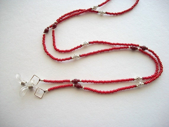 Red Eyeglass Holder Beaded Lanyard with Silver Plated Filigree Beads