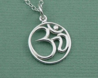 Om Necklace - Sterling Silver Om Jewelry, Ohm Necklace, Yoga Jewelry, Zen Jewelry, Om Pendant, Yoga Teacher Gift, Buddhist Jewelry, Gifts