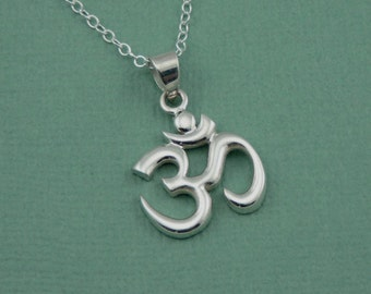 Om Necklace - Sterling Silver Om Pendant, Hindu Jewelry, Ohm, Yoga Necklace, Ohm Necklace, Yoga Gifts
