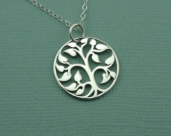Small Tree of Life Necklace - Sterling Silver Tree Necklace, Tree Jewelry, Tree Hugger, Tree Pendant, Family Tree Jewelry, Gift