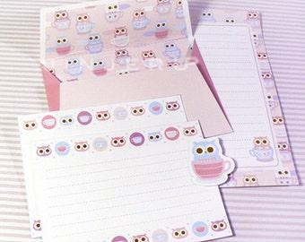Pink Tea Cup Owl Stationery Plus Printable PDF