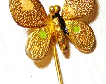 vintage gold tone butterfly hat pin hatpin I, butterfly brooch, gold tone butterfly brooch pin