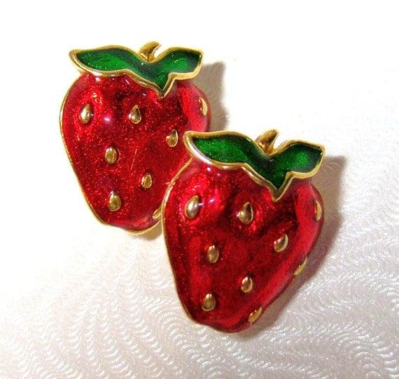 red strawberries vintage pierced earrings