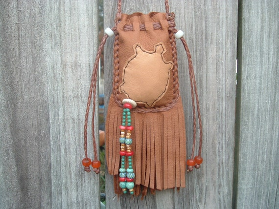 Deerskin Medicine Bag with a Leather Turtle design On the front