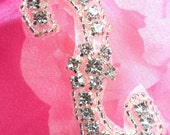 """ACT/XR178 Crystal Rhinestone Applique Silver Beaded Floral 2.5"""" (ACT/XR178-slcr)"""