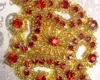 """JB115 Red Rhinestone Applique Gold Beaded 4"""" (JB115-rdgl)"""