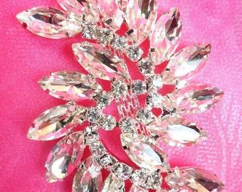 "ACT/XR196 Marquise Swirl Crystal Rhinestone Glass Applique Embellishment 2.75"" (ACT/XR196-slcr)"