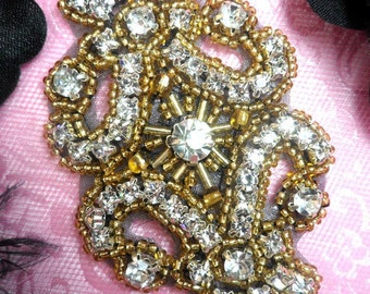 """XR15 Black Backing Gold Beaded Crystal Clear Rhinestone Applique 4"""" (XR15-bkglcr)"""