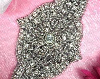 """XR23 Black Backing Applique Designer Silver Beaded Crystal Rhinestone 5"""" (XR23-bkcr)"""