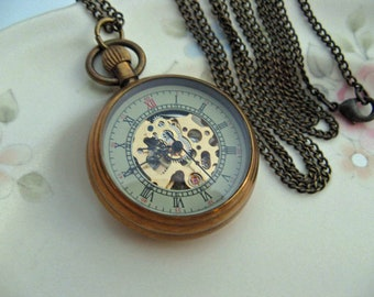 "Antique Bronze Watch Necklace, Mechanical Watch, 30"" chain,  1 1 /4"" or 32mm watch pendant - Victorian Steampunk Edwardian Era - Item MNW770"