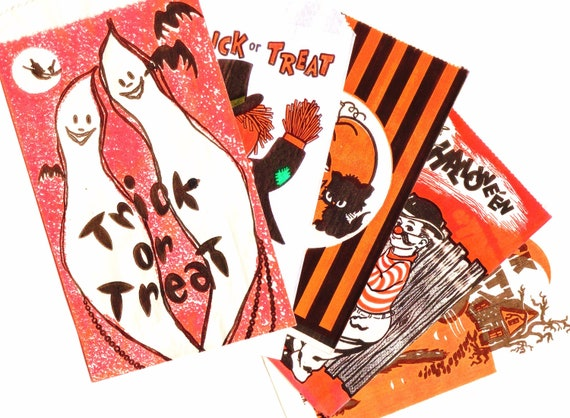 Vintage HALLOWEEN BAGS For Treats / Candy - Set Of Five