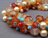 Gemstone Cluster  Bracelet with Carnelian, Swarovski Crystal Pearls, Turquoise and Moonstone with Sterling SIlver Toggle Clasp