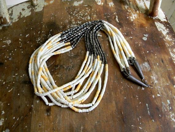 Vintage Necklace, Multi Strand Beaded Necklace