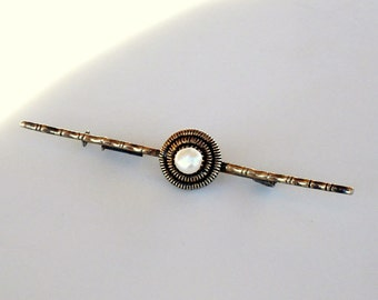 Art Deco Bamboo Sterling Brooch with Natural Pearl