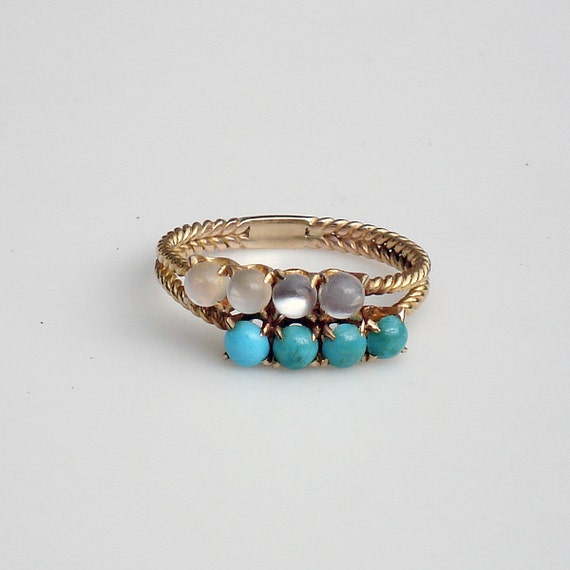 Victorian 14k Gold Moonstone and Persian Turquoise Ring