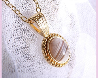 CLEARANCE  Gold - Botswanna Agate - Necklace  DC 8251