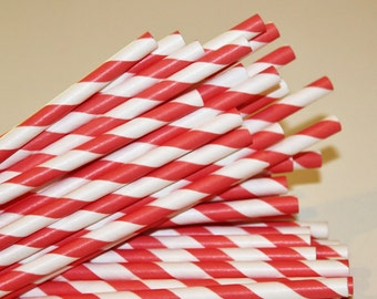 Paper Straws, 25 Coral Striped Paper Straws, Orange Paper Drinking Straws, Wedding Straws, Birthday Party Paper Straws, Striped Paper Straws