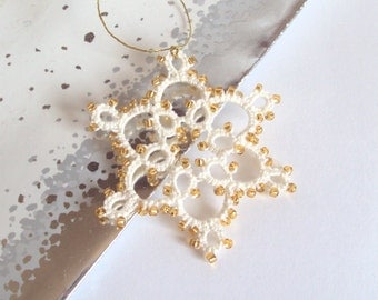 Cream, Gold Christmas Decoration in Tatting - Celyna - Small