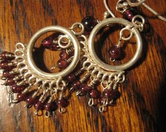 HOLIDAY SALE ====Handmade Sterling Silver Rhodolite Garnet Chandelier Earrings