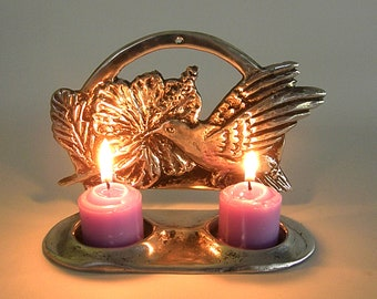 Candles holder for two candles, birds design, made of patinated solid brass made by Shaul Baz