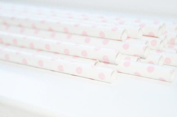 25 Light Pink Polka Dot Paper Straws With DIY Flags