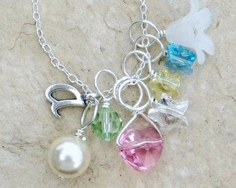 Initial Charm Necklace with Three Removable Charms N035