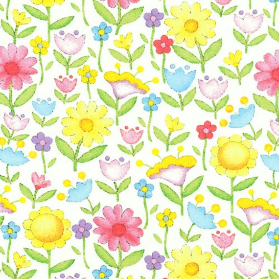 Garden baby nursery fabq fabric pastel flowers by for Floral nursery fabric