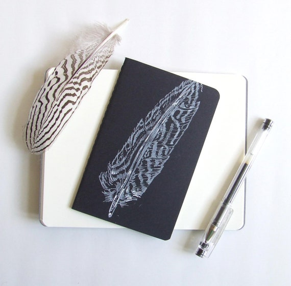 Single Feather Gocco Printed Pocket Moleskine Cahier Notebook in White and Black