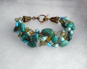 Turquoise, Peridot and Pearl Wire Crochet Bracelet