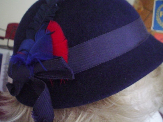 Vintage Hat - Henry Pollak - Navy Blue with Feathers
